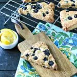 close up of cooked blueberry scones