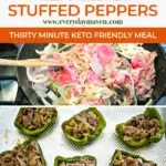 step-by-step images of how to make philly cheesesteak stuffed peppers