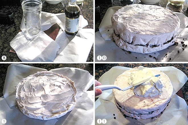 step by step photos of forming an ice cream cake and frosting it with whipped cream