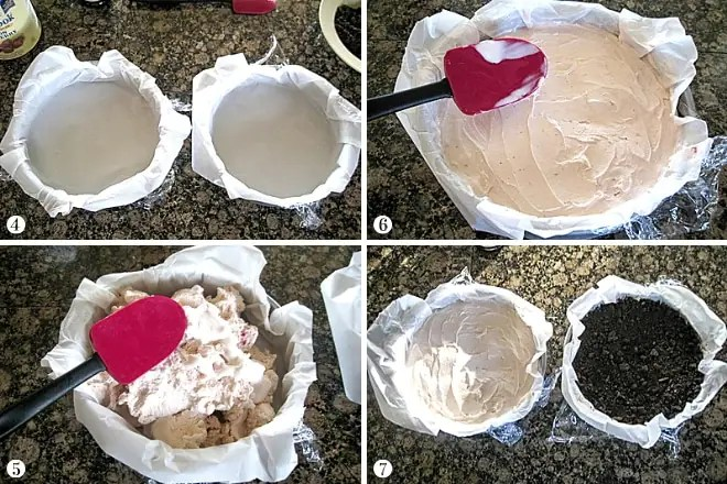 step by step photos of forming layers of ice cream to make a copycat carvel ice cream cake
