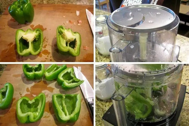 step-by-step photos showing how to quickly slice bell peppers for sausage and peppers