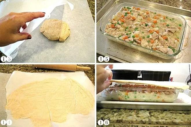 adding gluten free pot pie crust to chicken pot pie filling in a casserole dish
