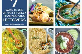 collage of recipes that use up thanksgiving leftovers