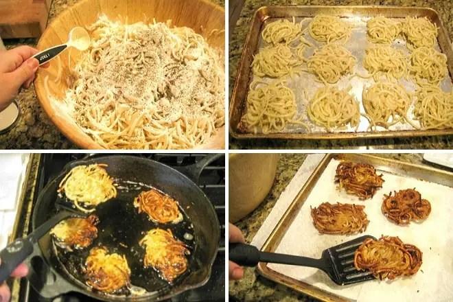 seasoning, forming an cooking potato latkes for hanukkah