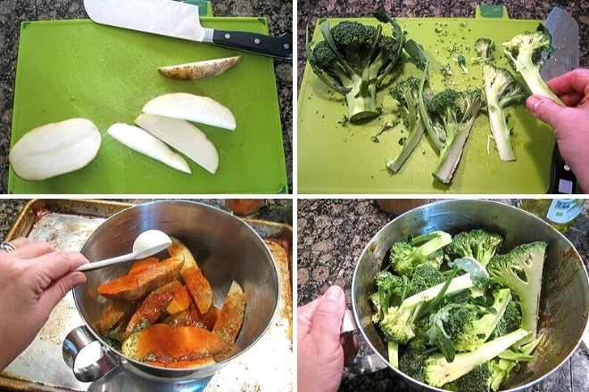 step by step photos for prepping ingredients for sausage sheet pan dinner