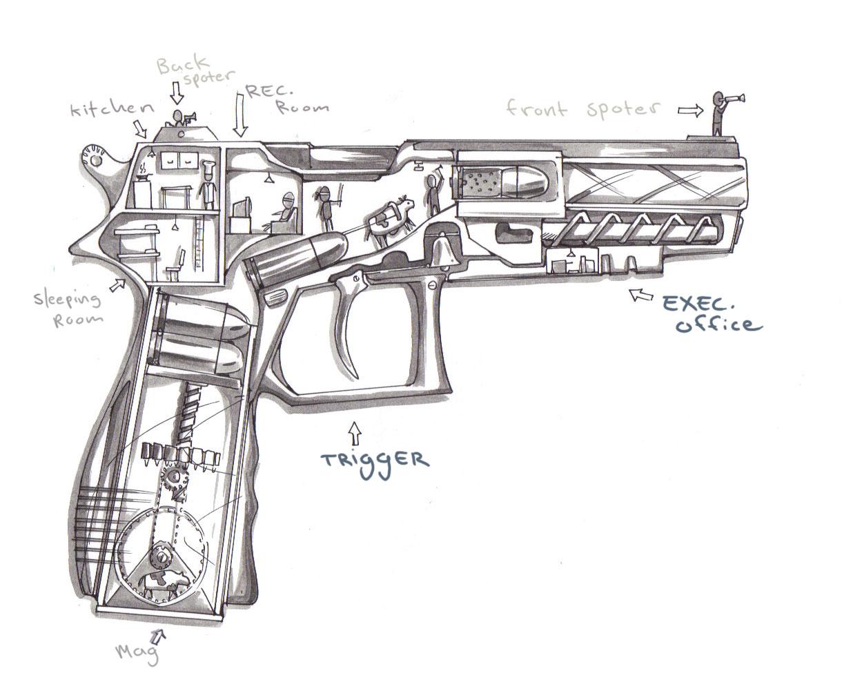 How Guns Actually Work Cutaway Sketch