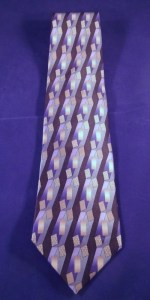 Carlos Devenezia Tie in Geometric Blue, Gray, & Black Pattern