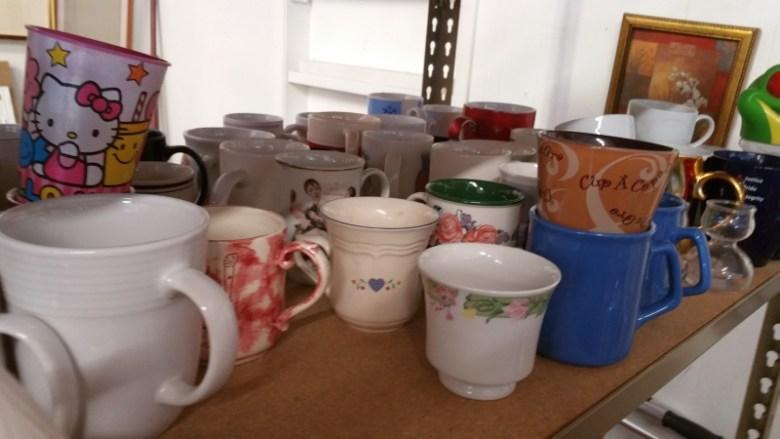 Mugs on a Warehouse Style Shelf