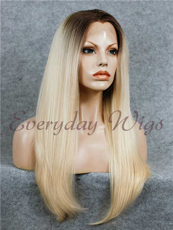 24 Brown Blonde Ombre Long Straight Synthetic Lace Front