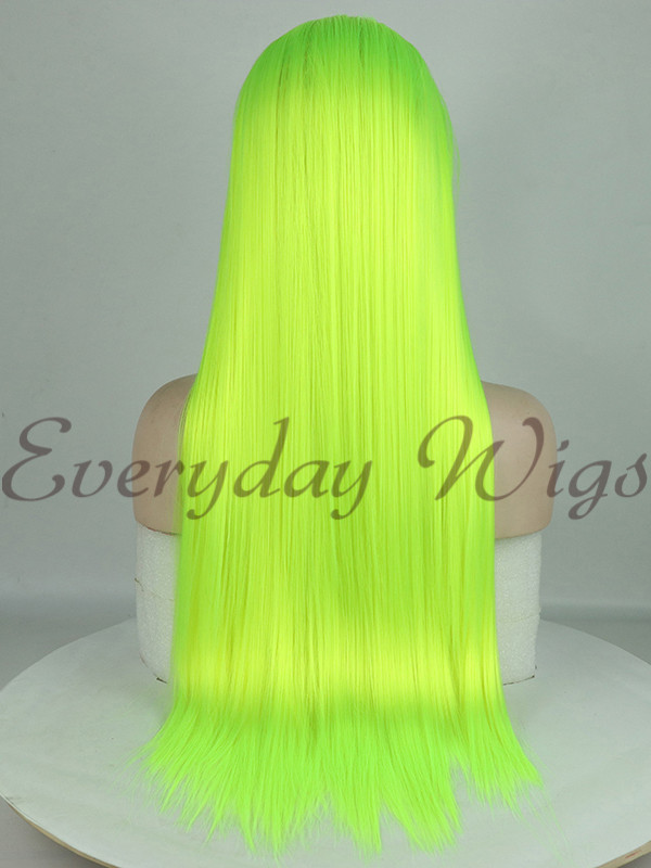 Neon Green Straight Synthetic Lace Front Wig Edw1015