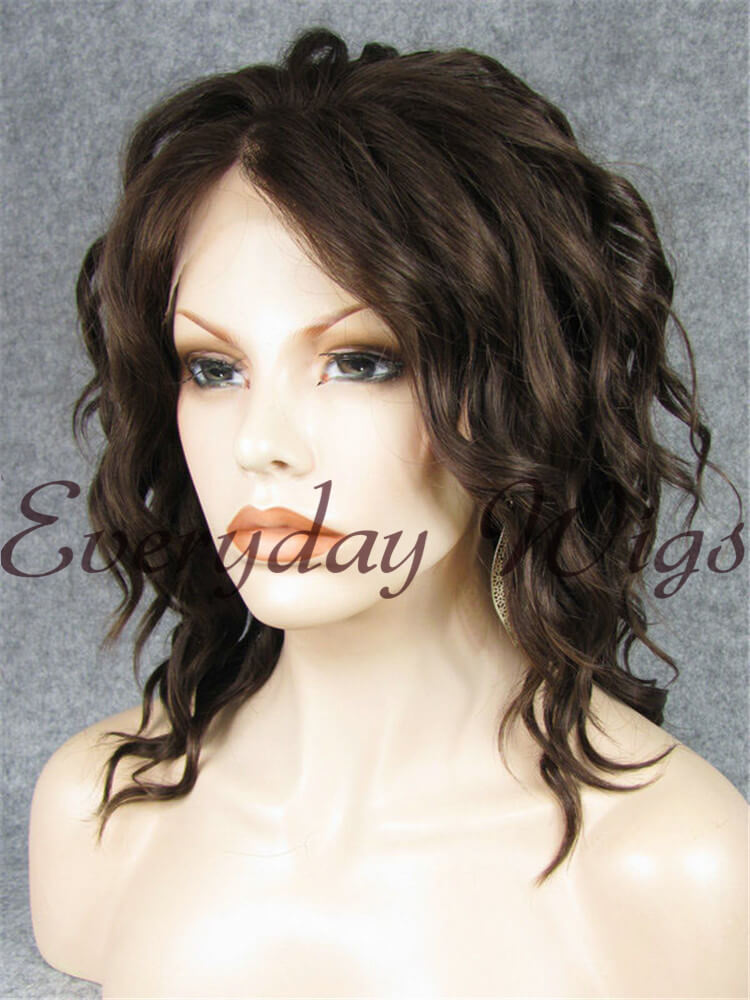 14 Brown Curly Bob Synthetic Lace Front Wig Edw273