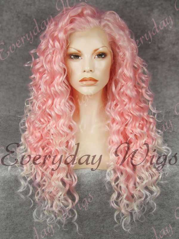 24 Pink Ombre Long Curly Synthetic Lace Front Wig Edw296