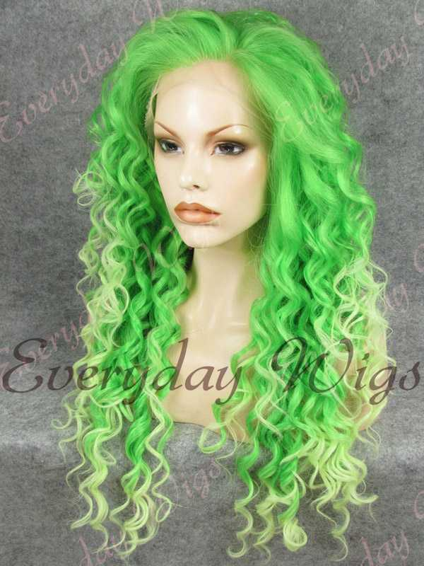 24 Green Ombre Long Curly Synthetic Lace Front Wig Edw308