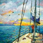 Anchored at Sunset by Peggy Johnson