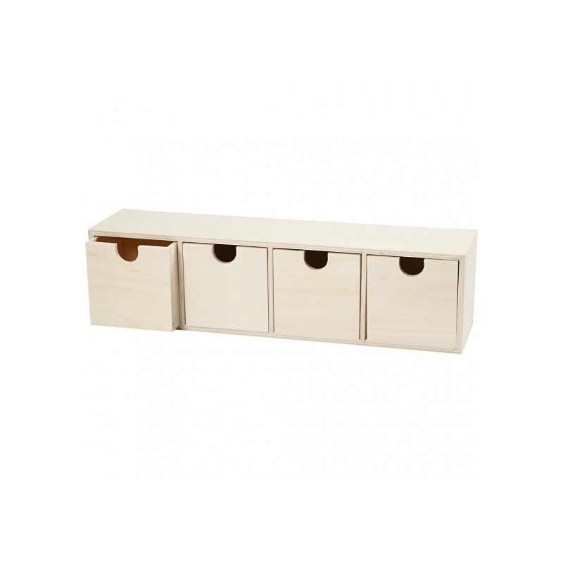 meuble casier a tiroirs en bois brut 4 tiroirs 35 x 8 x 9 5 cm achetez sur everykid com