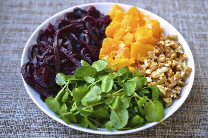 Beet, Orange, Watercress & Walnut Salad