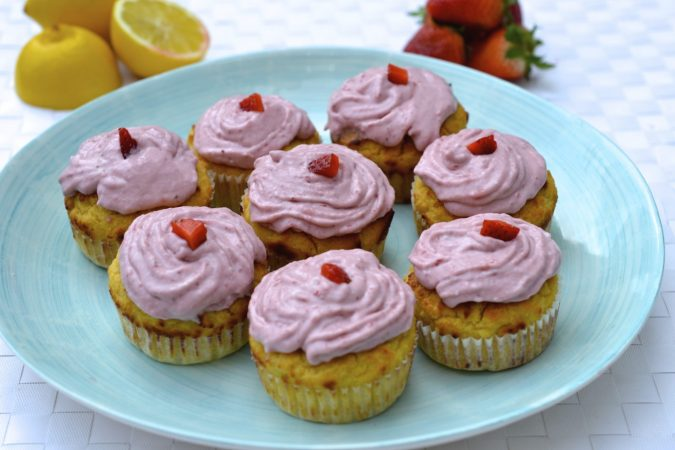 Lemon Cupcakes with Strawberry Icing