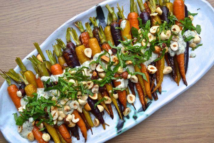 Roasted Carrots with Mint & Tahini Sauce