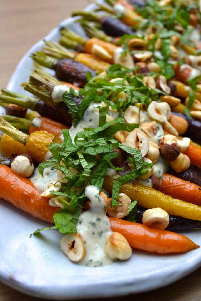 Roasted Carrots w/ Mint & Tahini Sauce
