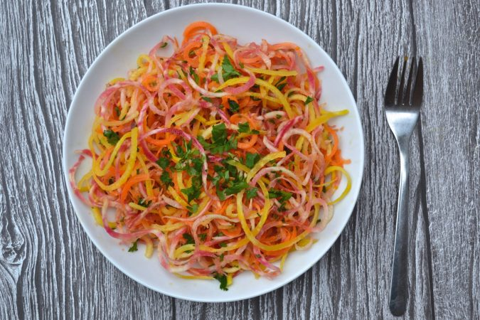 Raw Beet & Carrot Spiralized Salad