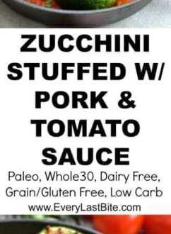 Zucchini Stuffed with Pork and Tomato Sauce