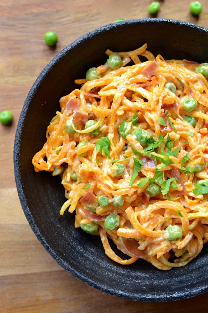 Butternut Squash Noodles with Alfredo Sauce
