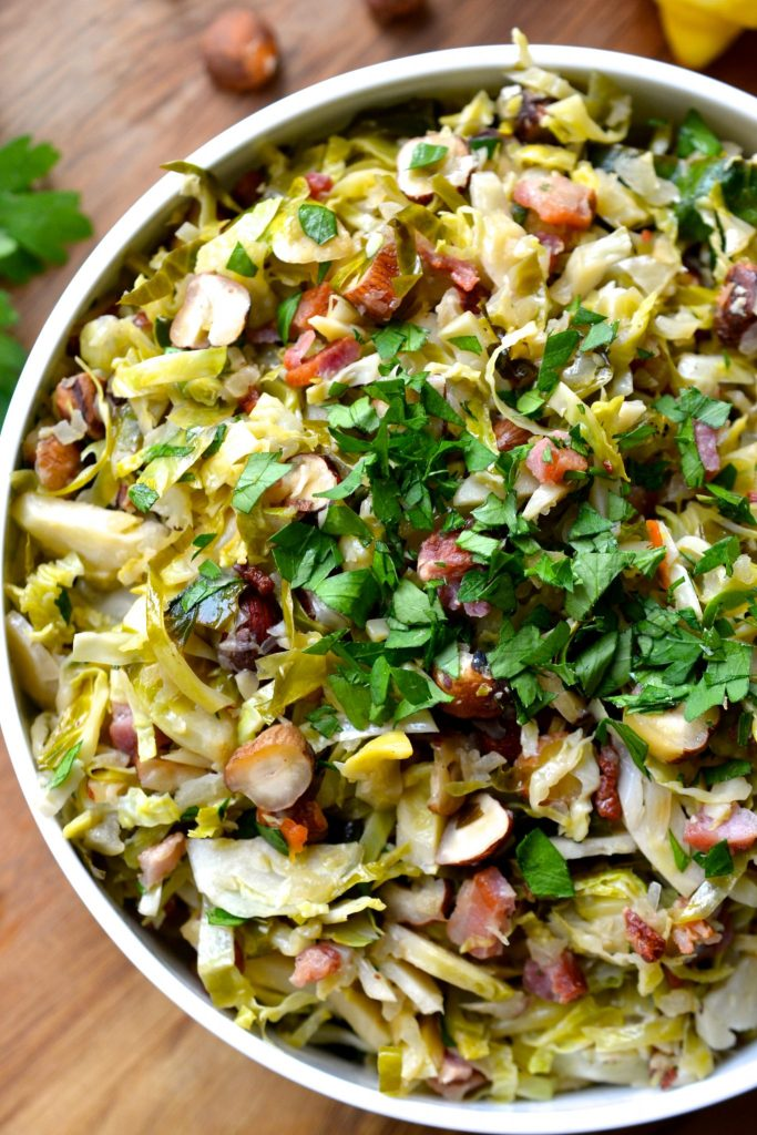 Shaved Brussel Sprouts with Bacon, Hazelnuts & Lemon