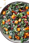 Kale, Butternut Squash & Pomegranate Salad with Lemon Tahini Dressing