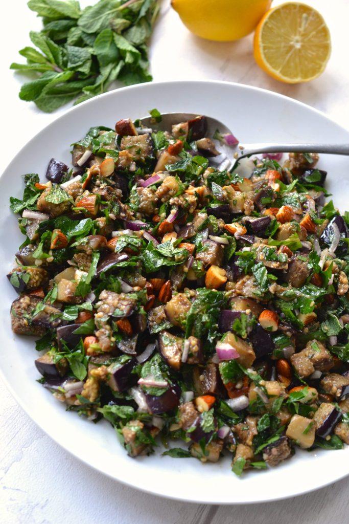 Chopped Eggplant, Almond & Herb Salad