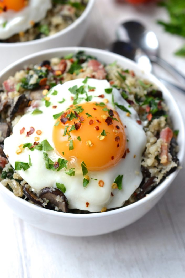 Savoury Breakfast Porridge with Bacon & Mushrooms