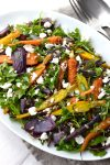 Roasted Carrot & Red Onion Salad with a Spiced Tahini Dressing