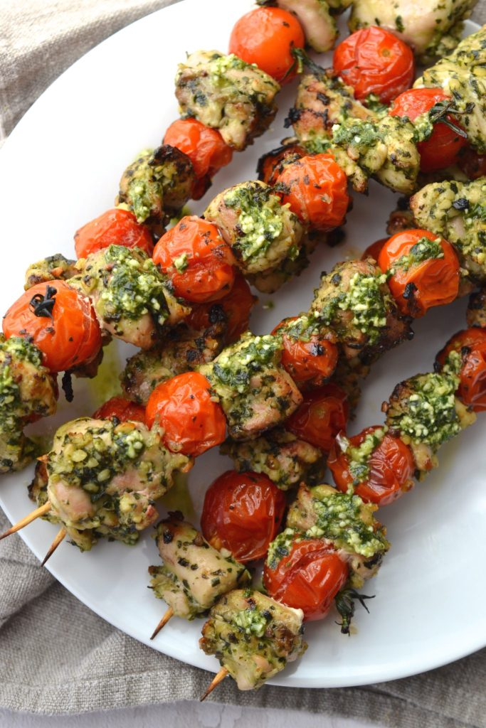Pesto Chicken & Tomato Skewers