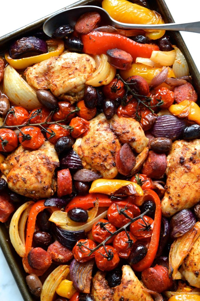 Sheet Pan Spanish Chicken & Chorizo