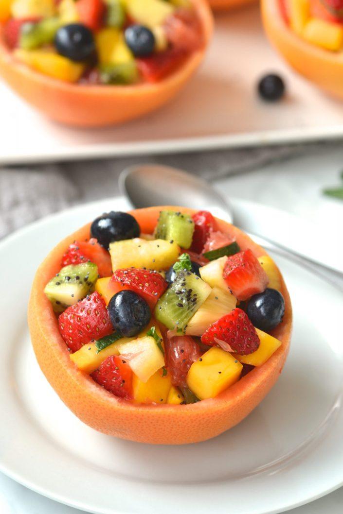 Grapefruit Bowls with Fruit Salad