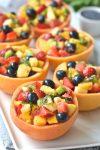 Grapefruit Bowls with Fruit Salad & Orange Poppy Seed Dressing