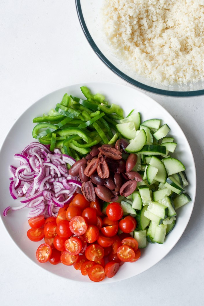 Greek Salad with Cauliflower Rice