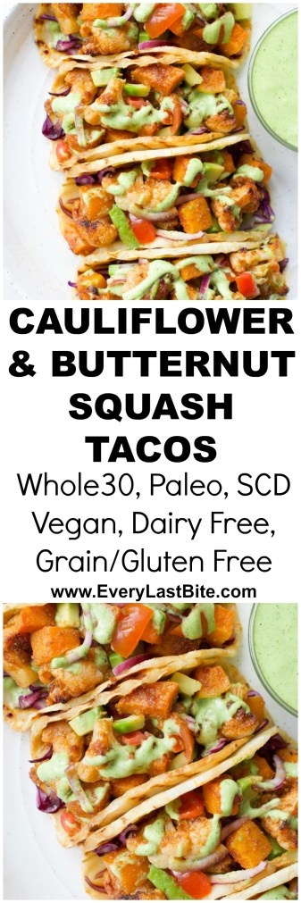 Roasted Cauliflower & Butternut Squash Tacos