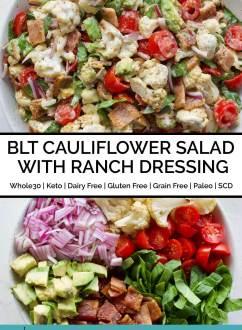 BLT Cauliflower Salad with Ranch Dressing