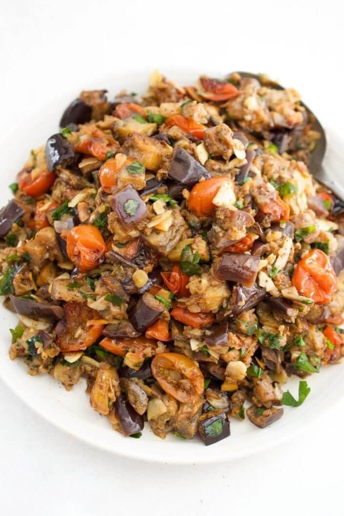 Middle Eastern Roasted Eggplant Salad