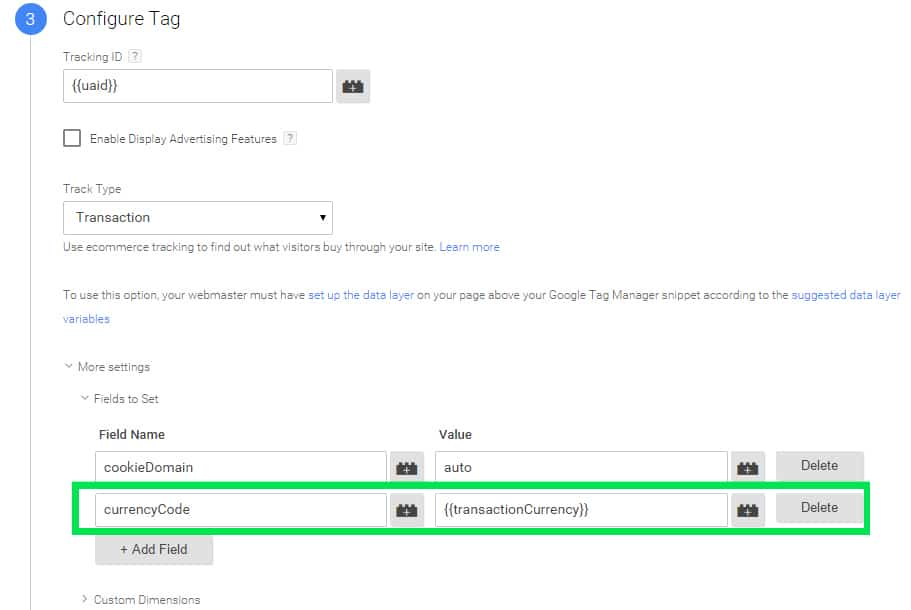 setup tag currency Google Tag Manager