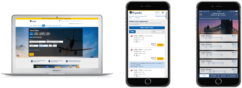 Expedia desktop and mobile