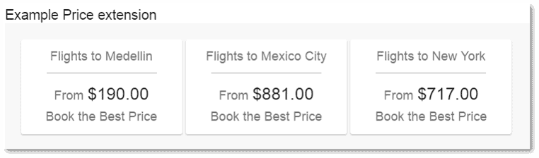 Dynamic Price Insertion in Price Extensions