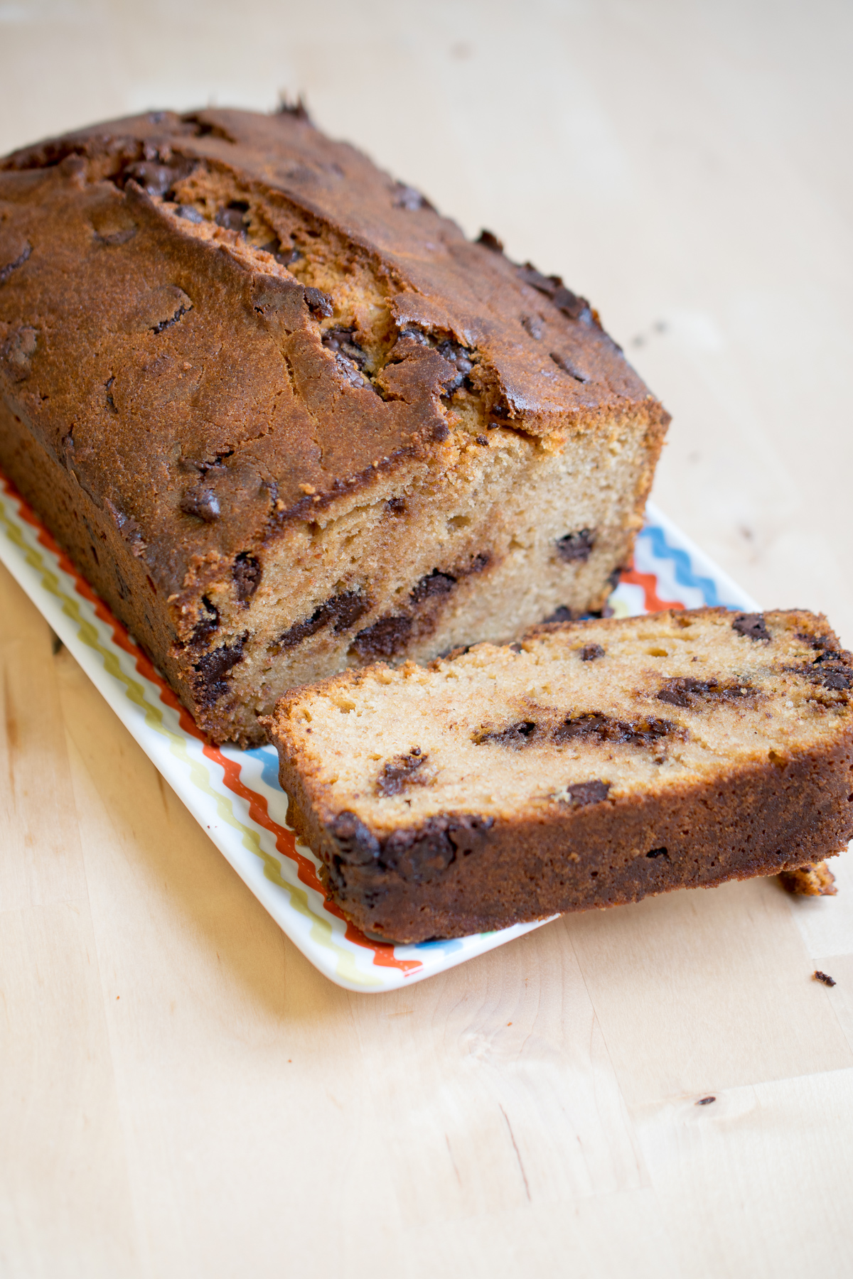 Choc chip caramel loaf cake - a simple cake made using caramelised condensed milk (dulce de leche) in place of sugar. And yes, it is as good as it sounds!