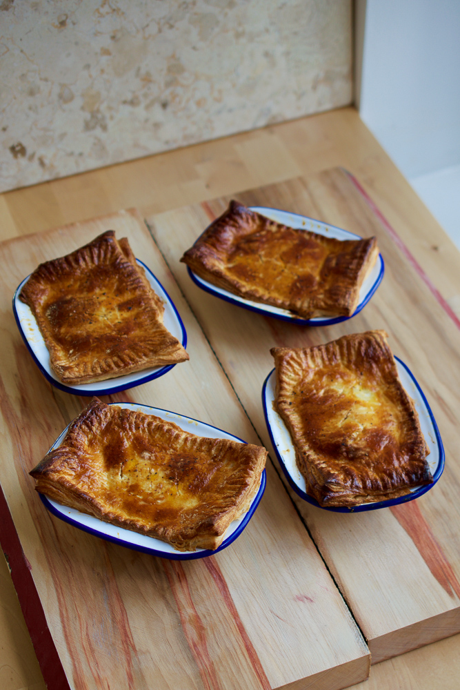 Ooey gooey cheese pies with homemade puff pastry - a cheese'n'onion pasty for the Brits!