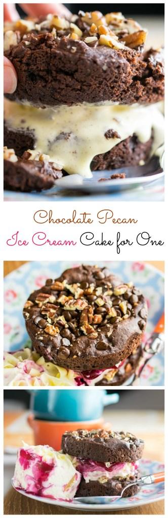Chocolate Pecan Ice Cream Cake for One