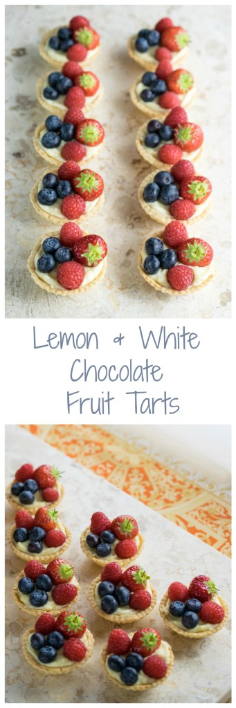 Lemon and white chocolate fruit tarts