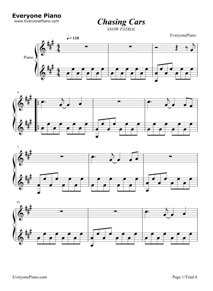 Chasing Cars Piano Sheet Music With Letters Easy | Lettercard.co