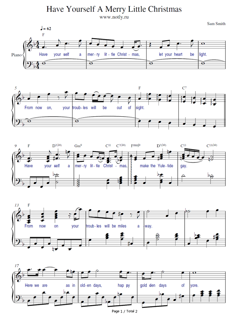 Have Yourself A Merry Little Christmas Easy Piano Sheet