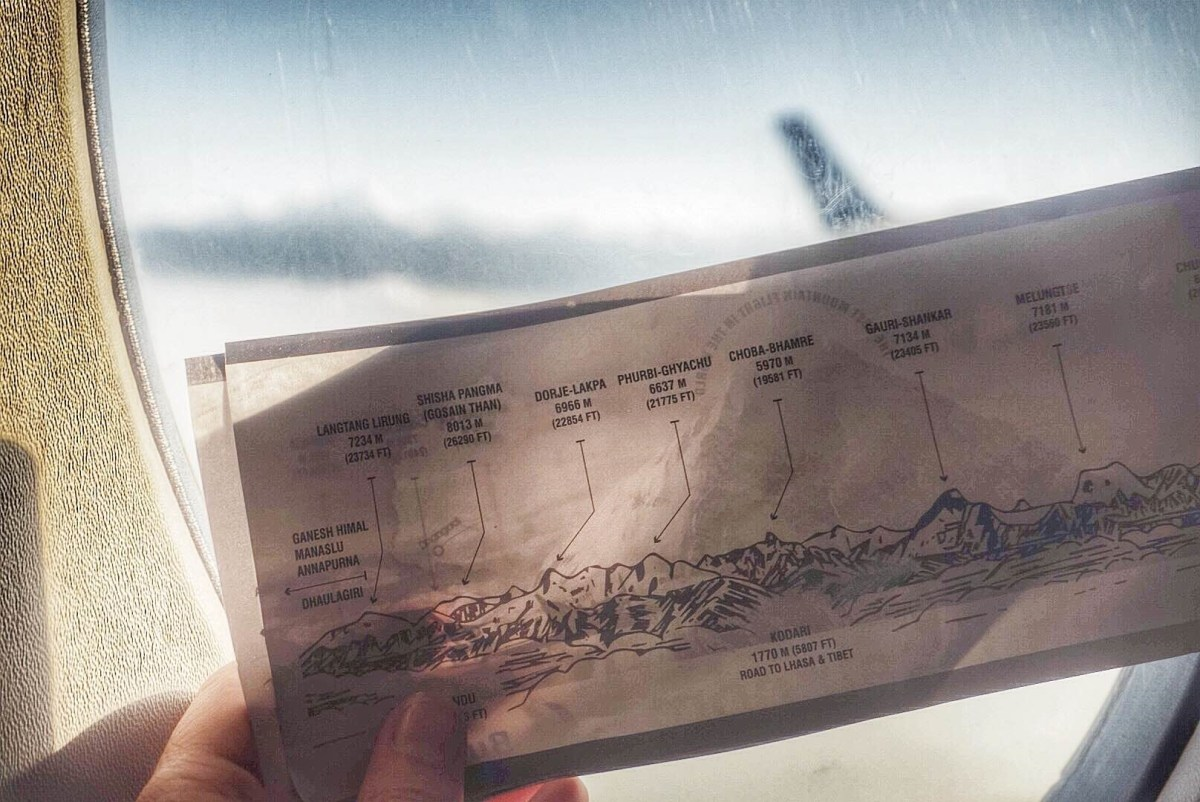 Everest flight in Nepal - the mountains map