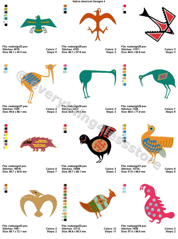 48 Native American Designs V4 4x4 Embroidery Designs Cd